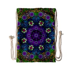 Colors And Flowers In A Mandala Drawstring Bag (small)