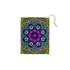 Colors And Flowers In A Mandala Drawstring Pouches (xs)