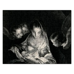 Nativity Scene Birth Of Jesus With Virgin Mary And Angels Black And White Litograph Rectangular Jigsaw Puzzl