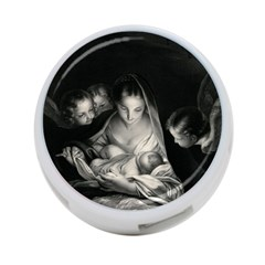 Nativity Scene Birth Of Jesus With Virgin Mary And Angels Black And White Litograph 4 Port Usb Hub (two Sides)