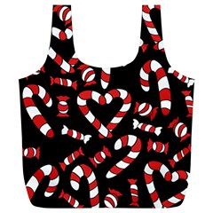 Christmas Candy Canes  Full Print Recycle Bags (l)