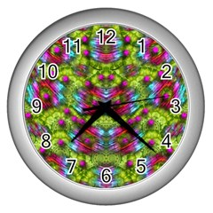 Freedom In Colors And Floral Wall Clocks (silver)