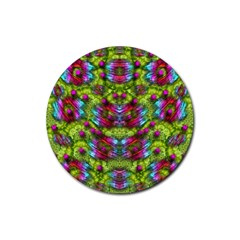Freedom In Colors And Floral Rubber Round Coaster (4 Pack)