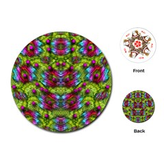 Freedom In Colors And Floral Playing Cards (round)