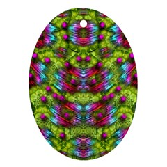 Freedom In Colors And Floral Oval Ornament (two Sides)