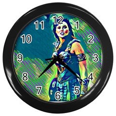 Warrior Princess 1 Wall Clocks (Black)