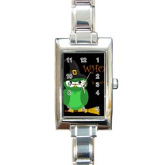 Who is a witch? - green Rectangle Italian Charm Watch