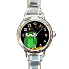 Who is a witch? - green Round Italian Charm Watch