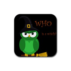 Who is a witch? - green Rubber Square Coaster (4 pack)