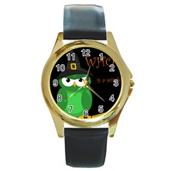 Who is a witch? - green Round Gold Metal Watch