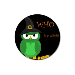 Who is a witch? - green Magnet 3  (Round)