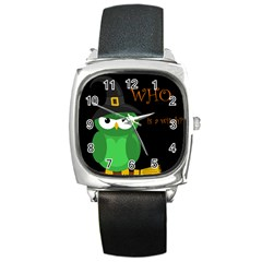Who is a witch? - green Square Metal Watch