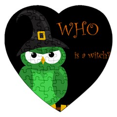 Who is a witch? - green Jigsaw Puzzle (Heart)