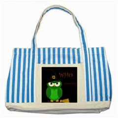 Who is a witch? - green Striped Blue Tote Bag