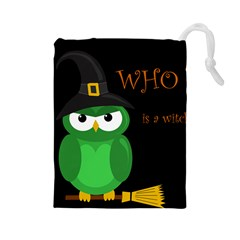 Who is a witch? - green Drawstring Pouches (Large)