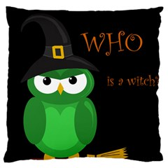 Who is a witch? - green Large Flano Cushion Case (Two Sides)