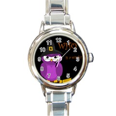 Who is a witch? - purple Round Italian Charm Watch