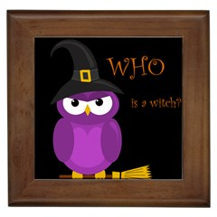 Who is a witch? - purple Framed Tiles