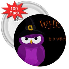 Who is a witch? - purple 3  Buttons (100 pack)