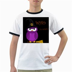Who is a witch? - purple Ringer T-Shirts