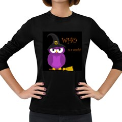 Who is a witch? - purple Women s Long Sleeve Dark T-Shirts