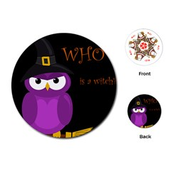 Who is a witch? - purple Playing Cards (Round)