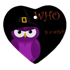 Who is a witch? - purple Heart Ornament (2 Sides)