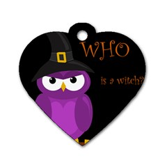 Who is a witch? - purple Dog Tag Heart (Two Sides)