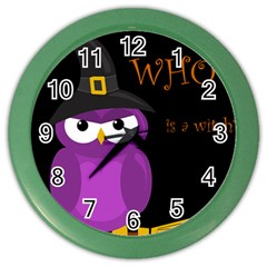 Who is a witch? - purple Color Wall Clocks