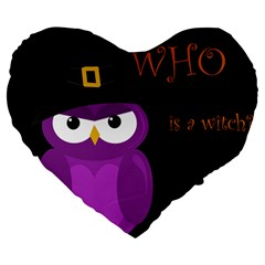Who is a witch? - purple Large 19  Premium Heart Shape Cushions