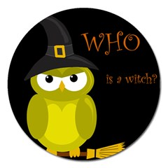Who is a witch? - yellow Magnet 5  (Round)