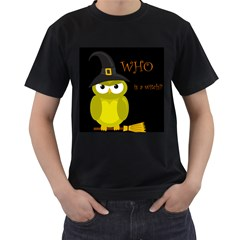 Who is a witch? - yellow Men s T-Shirt (Black) (Two Sided)