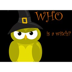 Who is a witch? - yellow Birthday Cake 3D Greeting Card (7x5)