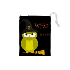 Who is a witch? - yellow Drawstring Pouches (Small)