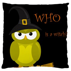 Who is a witch? - yellow Large Flano Cushion Case (One Side)