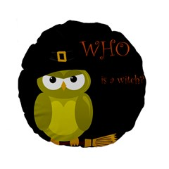 Who is a witch? - yellow Standard 15  Premium Flano Round Cushions