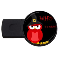 Who is a witch? - red USB Flash Drive Round (2 GB)