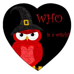 Who is a witch? - red Jigsaw Puzzle (Heart)
