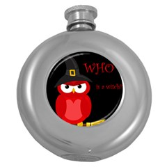 Who is a witch? - red Round Hip Flask (5 oz)