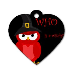 Who is a witch? - red Dog Tag Heart (One Side)