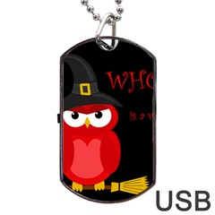 Who is a witch? - red Dog Tag USB Flash (One Side)