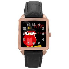 Who is a witch? - red Rose Gold Leather Watch