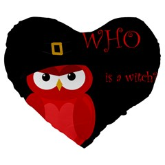 Who is a witch? - red Large 19  Premium Flano Heart Shape Cushions