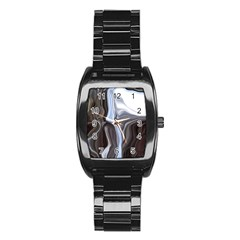 Metallic and Chrome Stainless Steel Barrel Watch