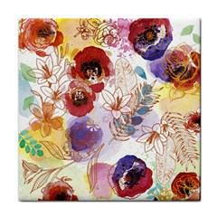 Watercolor Spring Flowers Background Tile Coasters