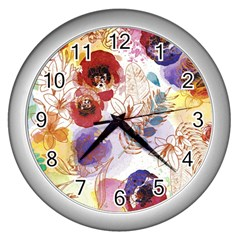 Watercolor Spring Flowers Background Wall Clocks (Silver)