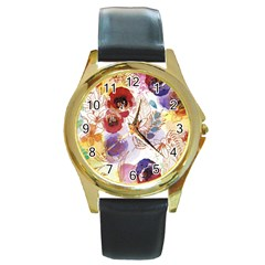 Watercolor Spring Flowers Background Round Gold Metal Watch