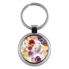 Watercolor Spring Flowers Background Key Chains (Round)