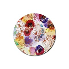 Watercolor Spring Flowers Background Rubber Coaster (Round)