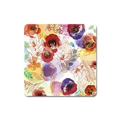 Watercolor Spring Flowers Background Square Magnet